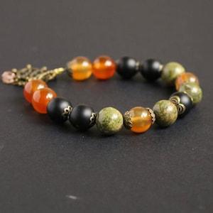 Green orange beaded jewelry Carnelian bracelet Unakite jewelry Black onyx stone bracelet Summer bracelet girlfriend gift bracelet femme Love