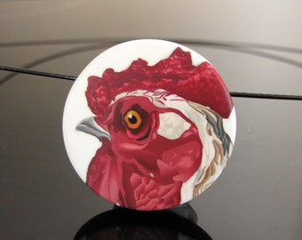 rooster cane polymer clay necklace