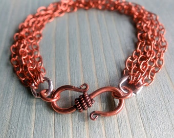 Copper multi-strand Chain Bracelet with Hammered Sterling Silver and Copper Hook Clasp ~ GenVie Designs