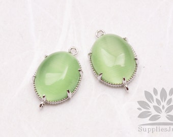 F122-S-PE// Silver Framed Peridot Light Green Cats Eye Smooth Oval Glass Connector, 2 pcs