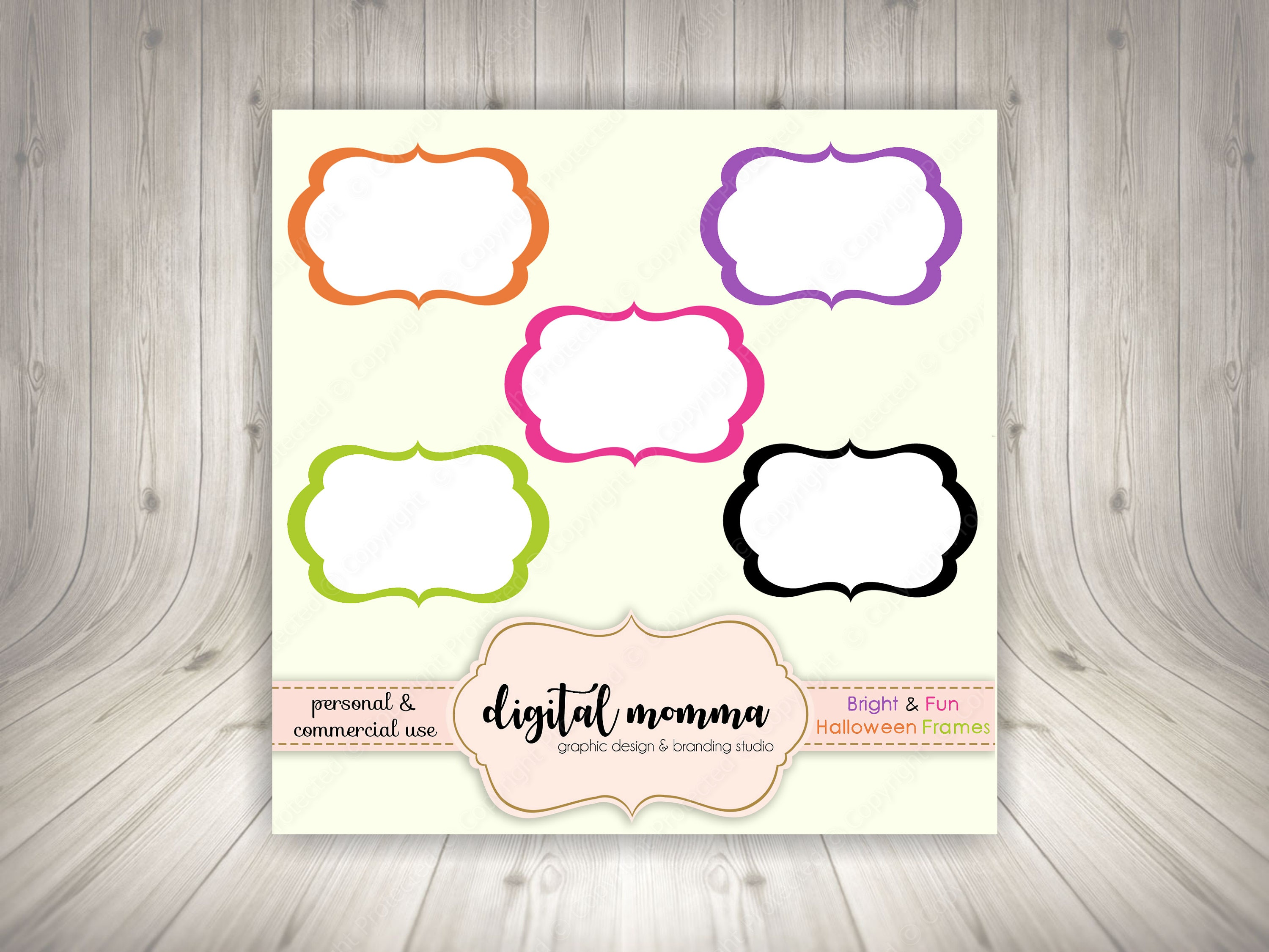 Bright & Fun Halloween Color Frames White Insert Transparent