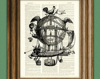 City in the sky DIRIGIBLE illustration beautifully upcycled dictionary page book art print