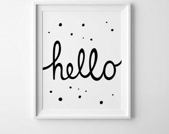 Playroom wall art, gender neutral print, nursery printable, wall art quotes, Hello print, kids room decor, digital print, affiche scandinave
