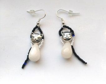 White Jade Tear Drop Cat Earrings, Antique Silver Black& White Cat Earrings, Silver Plated, White Jade Cute Kitten Earring by enchantedbeads