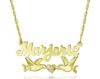 14K Two Tone Gold Personalized Nameplate Necklace with CZ - Customize Any Name
