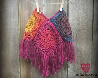 Toddler Rainbow Mandala Boho HIppie Poncho~Ready To Ship~FREE SHIPPING