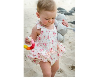 Baby's romper sewing pattern Rose Bud Romper pdf pattern - baby girl's romper pattern sizes 3months to 3 years by Felicity Sewing Patterns,