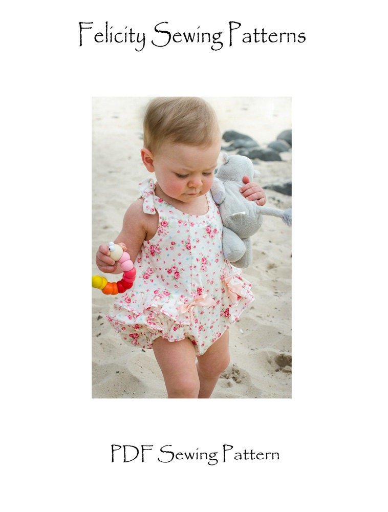 Baby\'s romper sewing pattern Rose Bud Romper pdf pattern