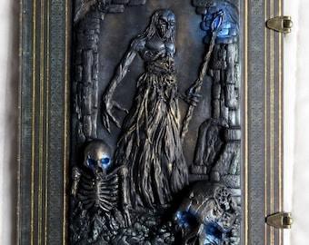 Necromancer, polymer journal, paperblanks nocturnelle ultra, 144 lined pages, horror, skulls, undead