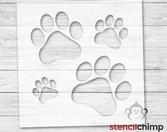 4 Paw Print Stencil (Stencil contains 4 animal paw prints in various sizes!) | DIY Art Stencil