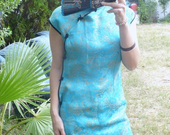 Vintage Blue Brocade Geisha Girl Cocktail dress size M by jeansvintagecloset on Etsy