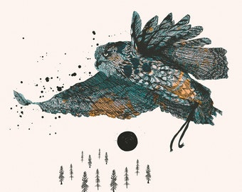 Woodland Forest Series: Owl & Sky — Art Illustration Giclee Print