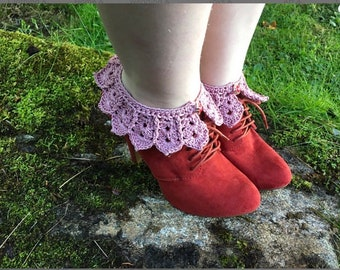 Spats anklets anklewarmers crochet cotton legs ankles accessories spatwarmers lacy steampunk steam punk
