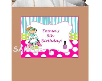 18 Personalized Spa Party stickers,birthday favors,bag box labels,shower,supplies,gifts,tags,Custom made