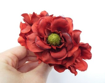 6 Dark Red Flowers Silk Flowers Artificial Flowers Fake Flowers Silk Flowers Green Decorative Flowers Craft Flowers