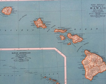 1937 HAWAII Original Vintage Map, 11 x 14 inches, Hawaii State Map, Rand McNally, Home Decor, Cartography, Geography, Panama Canal Zone