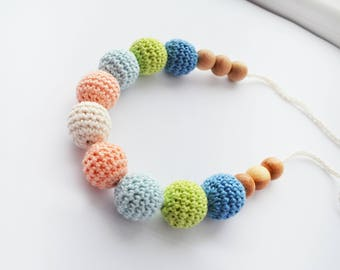 Rainbow Nursing Necklace - Crocheted Nursing Necklace - Wooden Nursing necklace - Baby gift