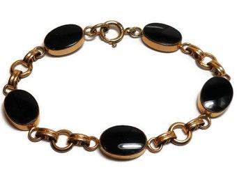 Vintage Van Dell Black Onyx Gold Filled Bracelet