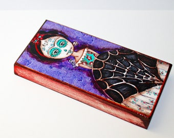 Frida Day of the Dead -  Giclee print mounted on Wood (3 x 6inches) Folk Art  by FLOR LARIOS