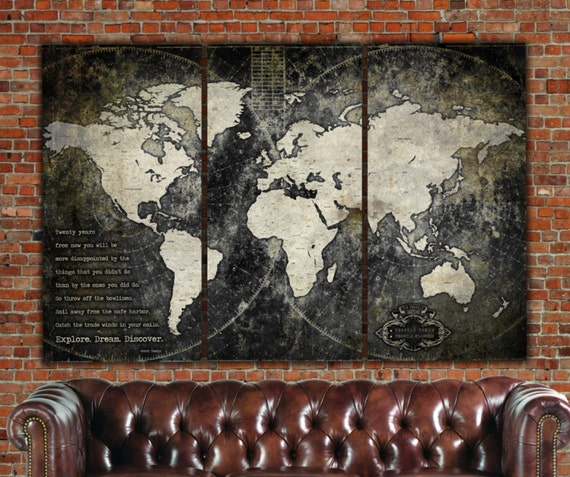 Wonderful Industrial World Map On Canvas Vintage Map Large Wall Art