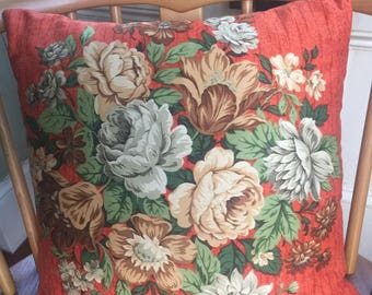 Pretty Vintage Orange Floral 1950's/60's Cushion