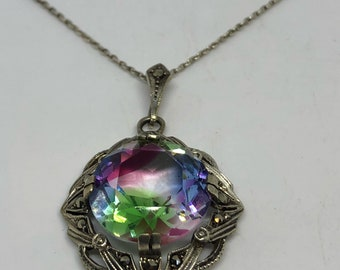 """Bohemian """"Y"""" necklace Droplet Rainbow crystal Marcasite Sterling Silver Necklace"""