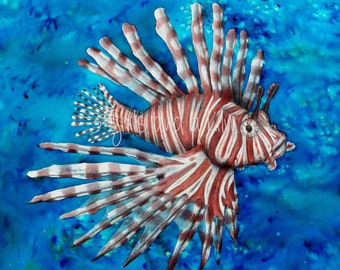 Cayman Lionfish Drawing and Watercolor painting, 11x14 print