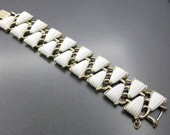 Coro White Thermoset  Art Deco Gold tone Bracelet  Mid Century Modern