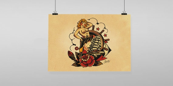 Pin Up Rose Boat Ship Sailor Jerry Vintage Reproduction