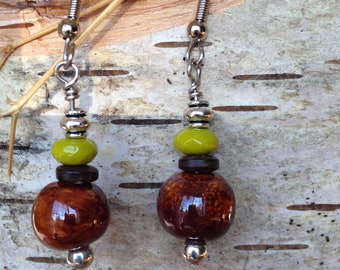 Brown Kazuri bead earrings.