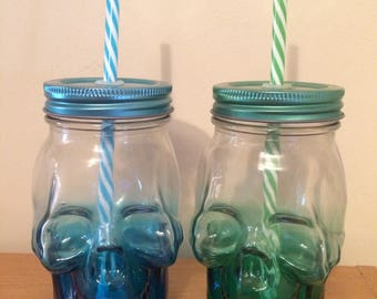 Glass skull drinking jar choice of 2 colours