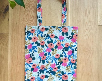 Rosa Floral Les Fleurs Collection Spring Canvas Tote Bag / Shopping Bag - Rifle Paper Co. (Free UK P&P)