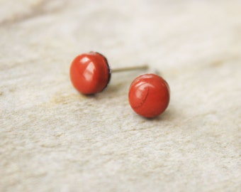 red jasper earring studs surgical steel hypoallergenic post minimalist boho bohemian style accessories natural look 6mm