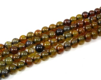 Beads 6 mm set Brown dragon vein agate 8