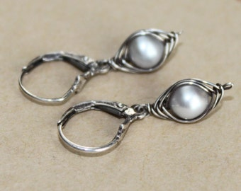 Oxidized Sterling Silver Wire Wrapped Freshwater Pearl Dangle Leverback Earrings