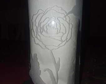 Hummingbird and Rose Etched Glass Cylinder Vase Handmade Valentines Day Gift for Her Mom Sister Friend Love Nature Flowers Candles