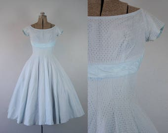 1950's Baby Blue Eyelet Lace Party Dress / Size XSmall