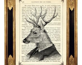 Deer Gentleman Portrait  - Vintage Victorian Book Page Art Print Steampunk