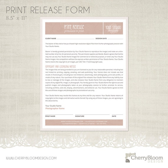 Print release form template for photographers photographer for Free photography print release form template