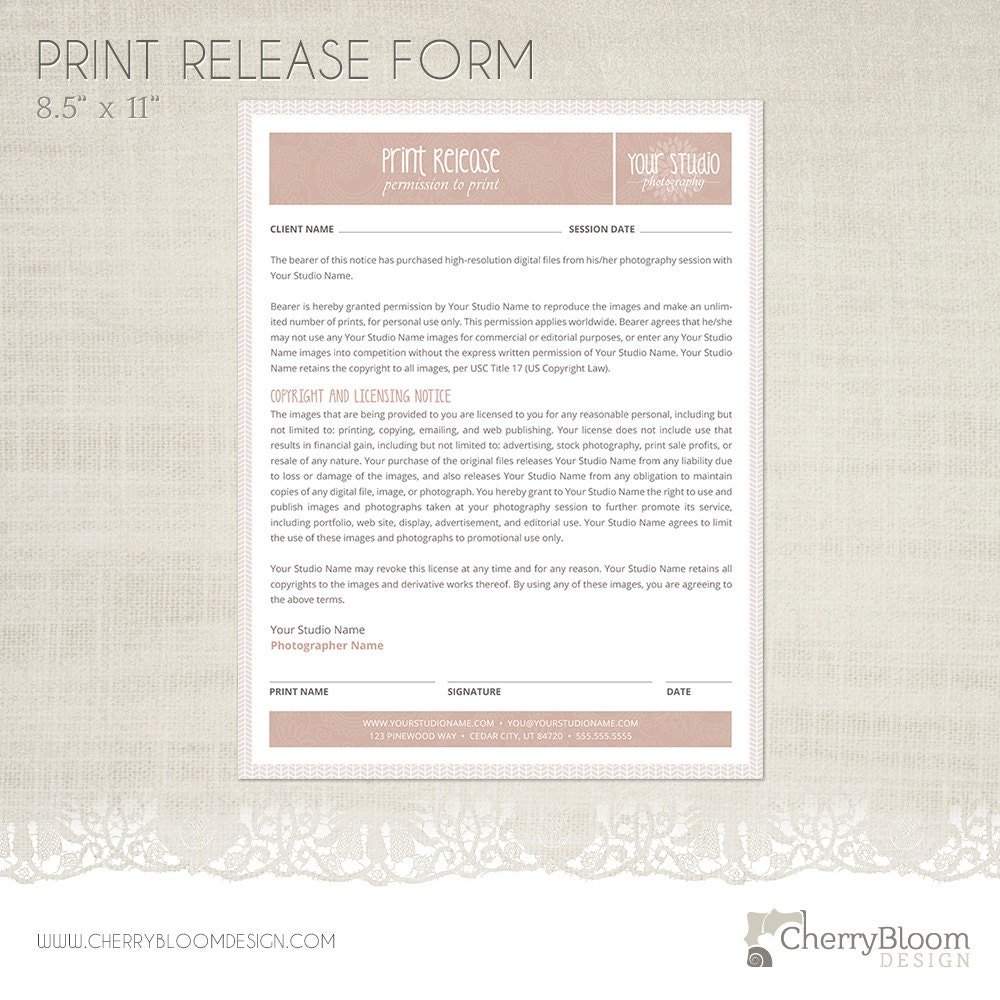 photography print release form Print Release Form Template for Photographers Photographer