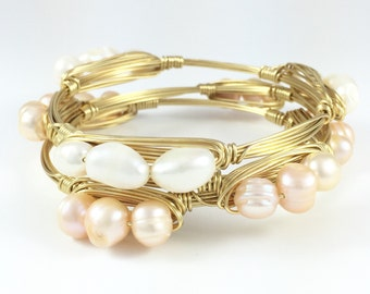 White Freshwater Pearl Wire Wrapped Bangle - Beach Bracelet - Wedding Jewelry - Bridesmaids Gift - Pearls - Courtney And Courtnie
