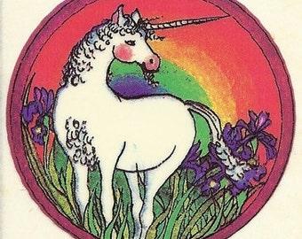 Vintage 80's RPP Unicorn Rainbow Flower Field Sticker