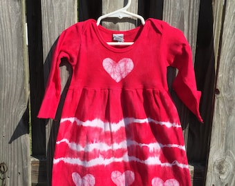 Long Sleeve Baby Dress, Red Baby Dress, Red Hearts Dress, Tie Dye Dress, Baby Christmas Dress, Valentine's Day Dress, Baby Gift (12 months)