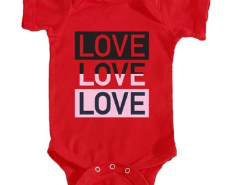 Love,Love,Love Onesie (Red)