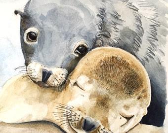 Seals, Seal, Seal baby, Animal prints, Ocean animals, Mother and Baby, Coastal Beach Home Decor, Beach Home Decor, Ocean Animals, Nursery