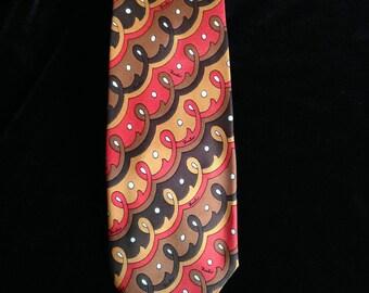 Vintage 70s Emilio Pucci Tie--Red--Brown--Gold
