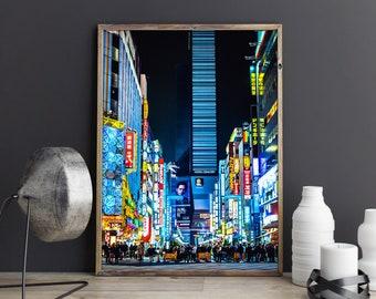 Shinjuku Street Poster, japanese photo, japanese photography, tokyo night, alley night, tokyo print, tokyo alley, japan print, times square