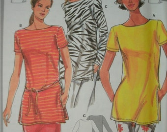 Misses Tunic Top with Sleeve Variation and Belt Size 8-10-12-14-16-18 Burda Super Easy Pattern 3190 Rated Very Easy to Sew NEW UNCUT