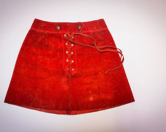 Red suede skirt size 38