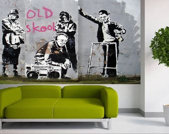 Banksy old skool Art Painting  Graffiti Stencil hip hop gang granny Choose Canvas Size